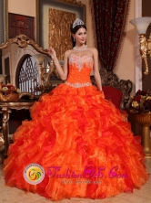 Las Cabras Chile Orange Quinceanera Dress Sweetheart Beaded Embroidery Decorate Multi-color Ruffles Style QDZY061FOR