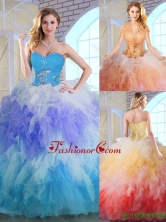 Latest Winter Appliques and Ruffles Quinceanera Dresses in Multi Color SJQDDT143002-1FOR