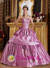 Lautaro Chile Romantic Lavender With Strapless Taffeta Beading Hand Made Flower 2013 Quinceanera Dresses Style QDZY210FOR