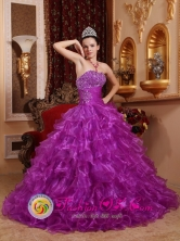 Llaillay Chile Customsize Purple For Stylish Quinceanera Dress With Organza Beading Decorate Bust and Ruched Bodice Style QDZY624FOR