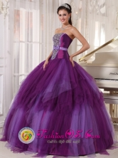 Los Lagos Chile Tulle Quinceanera Dress Beading and Bowknot For Elegant Strapless Purple ruffled Military Ball Style PDZY368FOR