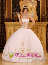 Los Vilos Chile Customized Strapless Ball Gown Appliques Decorate For 2013 Quinceanera Dress Style QDZY089FOR