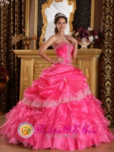 Los alamos Chile Appliques Hot Pink For Beautiful Quinceanera Dress Strapless Organza Lace Decorate Style QDZY068FOR