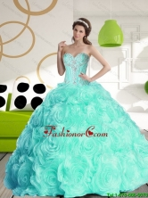 Luxurious 2015 Fall Sweetheart Quinceanera Dresses with Beading and Rolling Flowers SJQDDT58002FOR