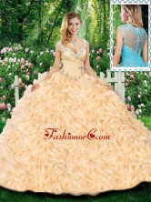 Luxurious Ball Gown Cap Sleeves Quinceanera Dresses with Beading and Ruffles for Fall SJQDDT316002FOR