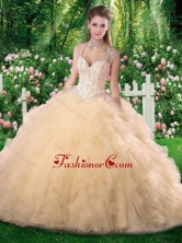 Luxurious Ball Gown Champange Quinceanera Dresses with Beading and Ruffles SJQDDT275002FOR
