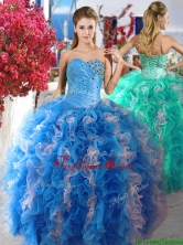 Luxurious Beaded and Ruffled Organza Quinceanera Dress in Blue and White YYPJ010FOR