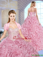 Luxurious Beading Brush Train Quinceanera Gowns with Rolling Flowers SJQDDT157002FOR