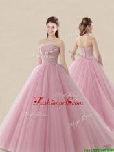 Luxurious Strapless Brush Train Sweet 16 Dress with Lace and Bowknot XFQD1191FOR