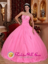 Maria Elena Chile Graduation Rose Pink For Wonderful Quinceanera Dress With Strapless Tulle Beadings And Exquisite Hand Flowers Style QDZY601FOR