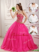 Modern A Line Hot Pink Quinceanera Gowns with Beading  QDZY090DFOR