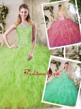 Modern Ball Gown Quinceanera Dresses with Appliques and Ruffles SJQDDT228002-1FOR