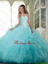New Arrival 2015 Summer Ball Gown Sweetheart Quinceanera Dresses with Beading and Ruffles SJQDDT70002FOR