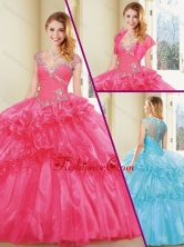 New Arrivals Straps Quinceanera Dresses with Beading and Ruffles SJQDDT239002-1FOR