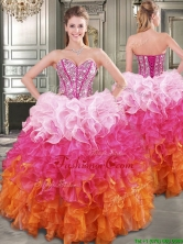New Gradient Color Big Puffy Sweet 16 Dress with Beading and Ruffles YYPJ015FOR