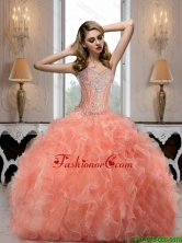 New Style 2015 Summer Sweetheart Watermelon Quinceanera Dresses with Beading SJQDDT69002FOR