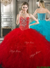 New Style Red Tulle Sweet 16 Dress with Beading and Ruffles YYPJ022FOR