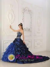 Olmue Chile Appliques Chapel Train Perfect Royal Blue Quinceanera Dress Sweetheart Taffeta and Organza Ball Gown For 2013 Style QDZY319FOR