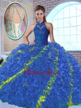 Perfect High Neck Appliques Sweet 16 Dresses in Multi Color SJQDDT146002-2FOR