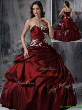 Perfect Strapless Burgundy Quinceanera Gowns with Appliques  JMCHSD083101CFOR