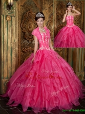 Popular Appliques and Ruffles Hot Pink Quinceanera Dresses for 2016  QDZY003BFOR