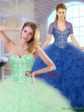Popular Ball Gown Sweet 16 Dresses with Beading and Ruffles SJQDDT163002G-2FOR