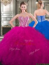 Popular Beaded and Ruffled Big Puffy Sweet 16 Dress in Fuchsia YYPJ026FOR