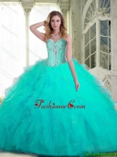 Pretty Sweetheart Aqua Blue Quinceanera Dresses with Beading and Ruffles for 2015 Summer SJQDDT71002FOR