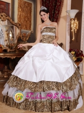 Puerto Natales Chile Beading Decorate Bodice Informal White Quinceanera Dress Strapless and sexy Leopard Ball Gown for Quinceanera Style QDZY437FOR