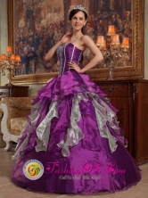 Quellon Chile Colorful Sweetheart Ruffles Layered Custom Made For 2013 Quinceanera Style QDZY243FOR