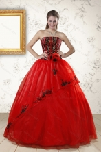 Red Appliques Strapless Quinceanera Dresses for 2015 XFNAO288FOR