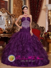 Rinconada Chile Princess Beaded Decorate Sweetheart Popular Purple Quinceanera Dress with Tulle Ruffles for Formal Evening Style QDZY622FOR