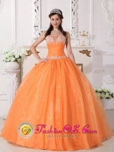 Rinconada Chile Spring Customize Exquisite Beaded Orange Appliques 2013 Quinceanera Dress WithTaffeta and Organza Ball Gown Style QDZY620FOR