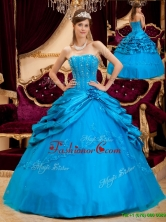 Romantic Ball Gown Strapless Floor Length Quinceanera Dresses for 2016 QDZY164AFOR