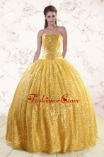 Romantic Gold Sequined Quinceanera Dress with Strapless XFNAO45FOR