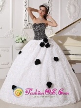 Santiago Chile Sequins and Hand Made Flowers Decorate Bodice Remarkable White and Black Quinceanera Ball GownDress Strapless Special Fabric GorgeousStyle QDZY544FOR