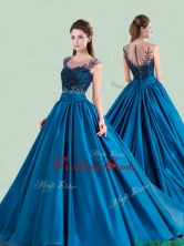 See Through Scoop Brush Train Quinceanera Dress with Cap Sleeves XFQD1190FOR
