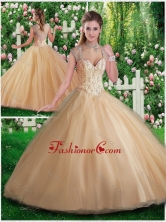 Simple A Line Champange Quinceanera Gowns with Beading and Appliques SJQDDT282002FOR