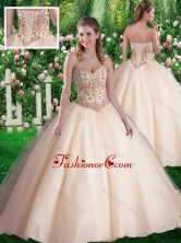 Simple Ball Gowns Sweetheart Appliques Champagne Sweet 16 Dresses SJQDDT353002FOR