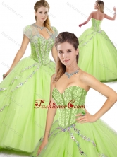 Spring Beautiful Sweetheart Beading Quinceanera Dresses in Yellow Green SJQDDT255002-1FOR