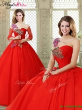 Spring Hot Sale Appliques and Beading Sweet 16 Dresses with One Shoulder YCQD014FOR