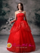 Strapless Sequin Decorate Custom Made Red Quinceanera Dress In El Salvador Chile in Spring Style YLD82707FOR