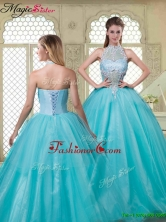 Summer Popular Halter Top Quinceanera Dresses with Brush Train YCQD030FOR