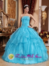 Tierra Amarilla Chile Customize Beaded Embellishments With Aqua Blue Layered Elegant Quinceanera Dress Style QDZY631FOR