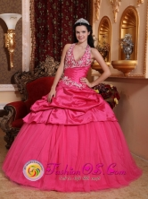 Vina del Mar Chile 2013 Hot Pink Romantic Quinceanera Dress With Appliques Decorate Halter Top Neckline for Sweet 16Style QDZY608FOR