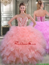 Visible Boning Beaded Bodice and Ruffled Quinceanera Dress in Watermelon Red YYPJ016FOR