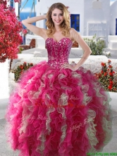 Visible Boning Beaded and Ruffled Quinceanera Dress in Hot Pink YYPJ002FOR