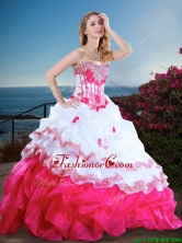Visible Boning Beaded and Ruffled Quinceanera Gown in Hot Pink and White XFQD1184FOR