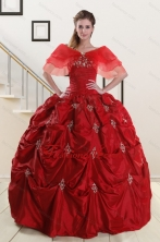 Wine Red Strapless 2015 Quinceanera Dresses with Appliques XFNAO230AFOR