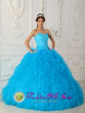 2013 Aguadas Colombia Spring Teal Quinceanera Dress Sweetheart Satin and Organza With Beading Small Ruffles Style QDZY021FOR